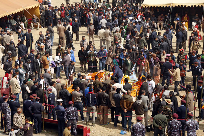 Preparations for Sushil Koirala's funeral procession. Photo: RSS