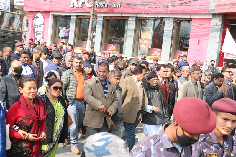 Sushil Koirala's funeral procession. Photo: RSS