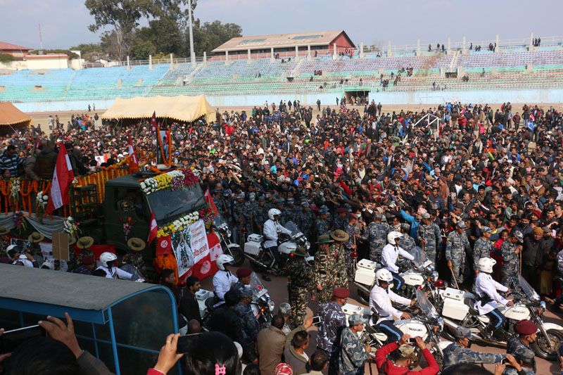 Human sea at Dasharath Stadium taking part in Sushil Koirala's funeral procession. Photo: RRS