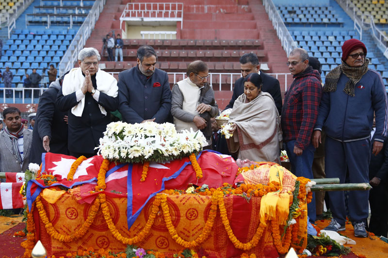 An Indian delegation led by Minister for External Affairs Sushma Swaraj pays final tribute to former Prime Minister Sushil Koirala, at the Dasharath Stadium, in Kathmandu, on Tuesday, February 9, 2016. Photo: Skanda Gautam/ THT