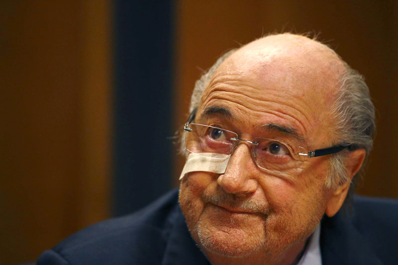 FILE - Suspended FIFA President Sepp Blatter attends a news conference in Zurich, Switzerland,  after he has been banned for 8 years from all football related activities, on December 21, 2015. Photo: AP