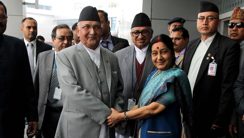 Indian Minister for External Affairs Sushma Swaraj (right) receives Nepal's Prime Minister KP Sharma Oli at Indiara Gandhi International Airport, on Friday, February 19, 2016. Photo: MEA India