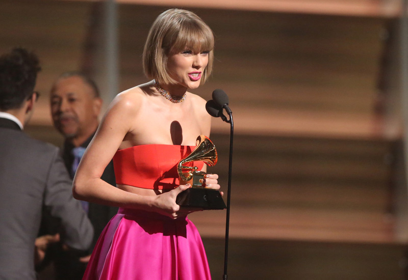 FILE - In this February 15, 2016 file photo, Taylor Swift accepts the award for album of the year for u00931989u0094 at the 58th annual Grammy Awards in Los Angeles. Photo: AP