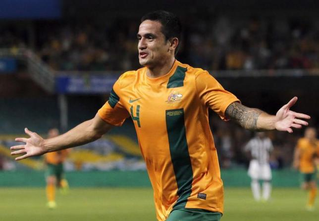Australia's Tim Cahill celebrates scoring a goal during the international friendly soccer match against Costa Rica in Sydney November 19, 2013. Photo: Reuters