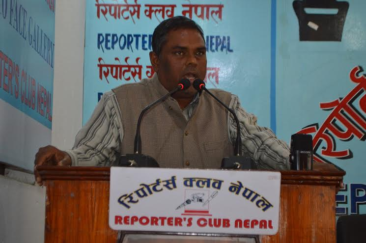 Federal Socialist Forum Nepal Chairman Upendra Yadav speaking at an interaction organised at the Reporters' Club in the Capital on Thursday, February 25, 2016. Photo: Reporters' Club