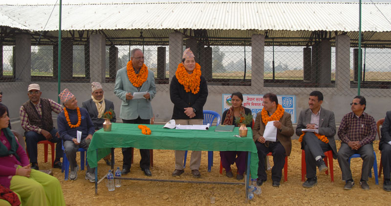 World Bank Nepal Country Manager Takuya Kamata speaks at an interaction during his visit to a pig farm in Bankatuwa of Banke district, on Tuesday, February 16, 2016. Photo: PACT
