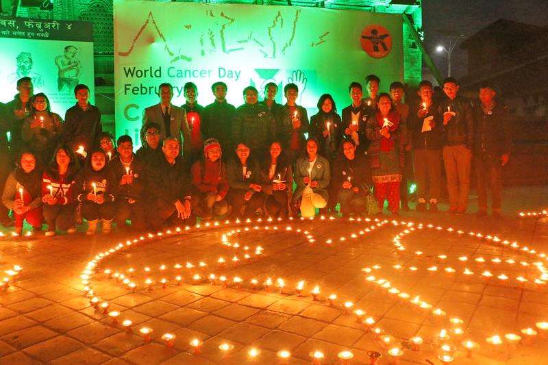 People mark the World Cancer Day 2016 organising a candle light vigil in Basantapur, Kathmandu on Thursday, February 4, 2016. Photo: RSS