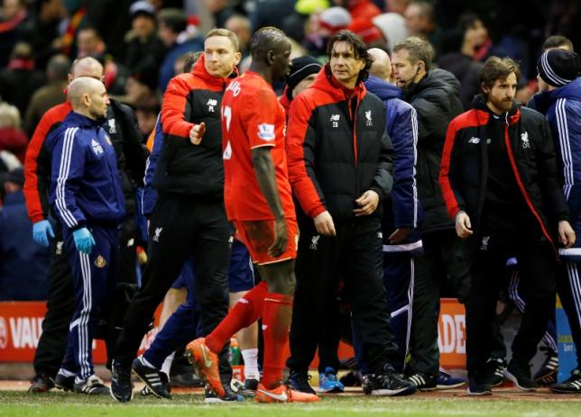 Football Soccer - Liverpool v Sunderland - Barclays Premier League - Anfield - 6/2/16nLiverpool coach Zeljko Buvac with Mamadou Sakho after the game. Action Images via Reuters / Carl Recine. Livepic