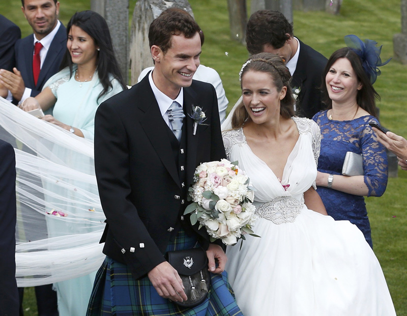 Tennis player Andy Murray leaves the cathedral after his wedding to his fiancee Kim Sears in Dunblane, Scotland, April 11, 2015. Kim gave birth to a baby girl two days ago according to media reports. Photo: Reuters