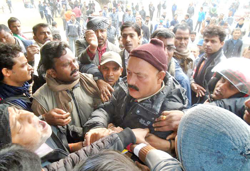 United Democratic Madhesi Front (UDMF) cadres try to obstruct the municipal convention of Nepali Congress in Rajbiraj Municipal, on Monday, February 01, 2016.  Photo: THT