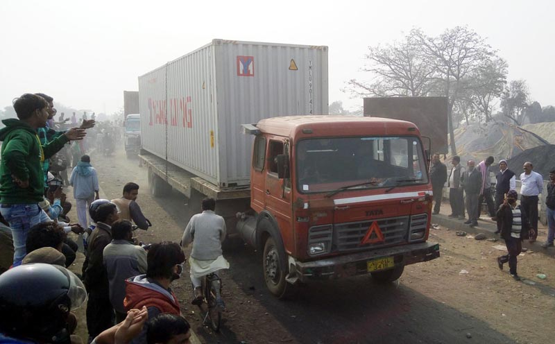 A container enters Nepal via Birgunj-Raxaul border point after local traders remove protesters from the bordering bridge, on Friday, February 5, 2016. Photo: Ram Sarraf