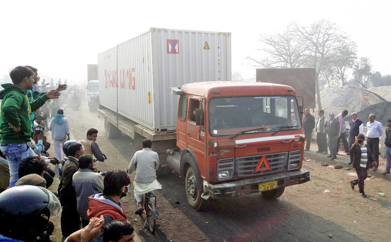 A container loaded with goods entering Nepal through the Birgunj-Raxaul border point 135 days after the border point was blockaded by the agitating United Democratic Madhesi Front, in Birgunj, Parsa, on Friday, February 5, 2016. Photo: THT