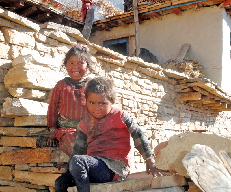Children, deprived of education and marred by poverty, playing in their house in Rasi village, Dolpa district on Friday, February 5, 2016. Photo: RSS