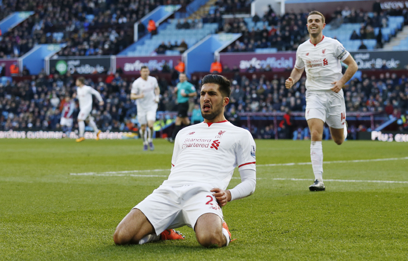 Emre Can celebrates scoring the third goal for Liverpool against Aston Villa during Barclays Premier League game at Villa Park on Sunday, February 14, 2016. Photo: Reuters