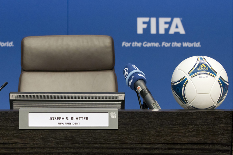 FILE - In this July 17, 2012 file photo the seat of FIFA President Joseph Sepp Blatter is empty ahead of a press conference after the extraordinary meeting of the FIFA Executive Committee, at the FIFA  headquarters in Zurich, Switzerland. Photo: AP