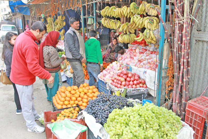 A man is about to select oranges in a fruit shop at Kalimati Fruits and Vegetables Market in Kalimati, Kathmandu on Friday, February 26, 2016. Photo: RSS