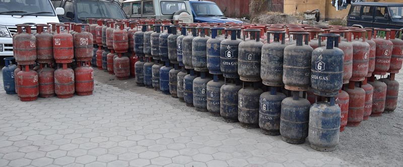 Hoarded cooking gas cylinders that police seized from a shop in Kapan of Kathmandu, on Monday, February 1, 2016. Photo: MPCD