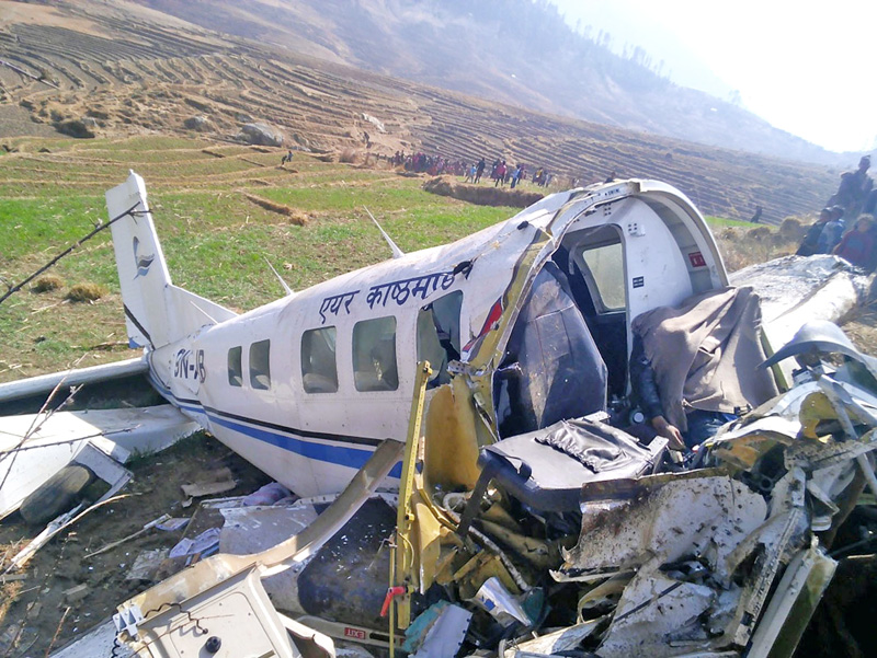 The wreckage of Kasthamandap Air plane at the crash site in Kalikot on Friday, February 26, 2016.