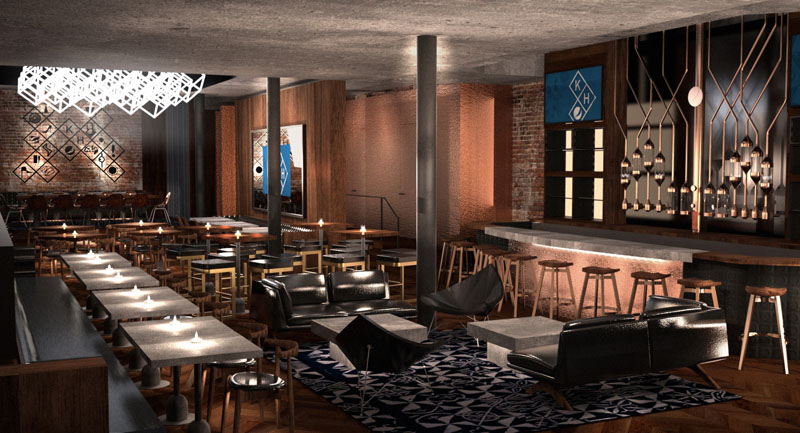 This rendering provided by PepsiCo shows the concept of what Pepsi's Kola House, the first experimental kola bar, restaurant, lounge and event space to open in the US market, is expected to look like. Image: PepsiCo via AP