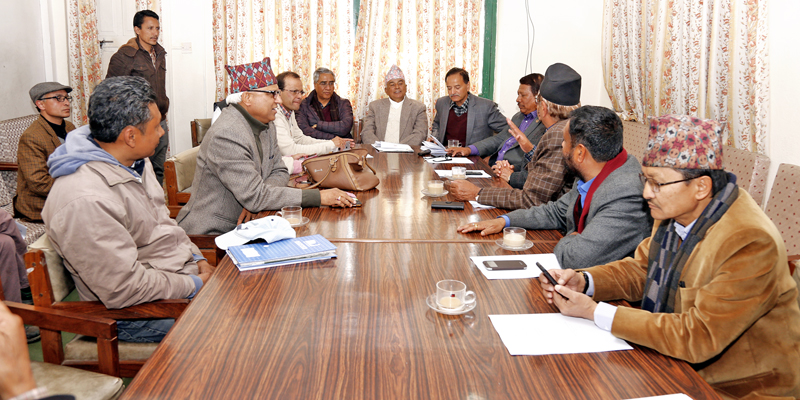 Members of Nepali Congress holding a meeting for the upcoming general convention of the party in Kathmandu on Sunday, February 14, 2016. Photo: RSS