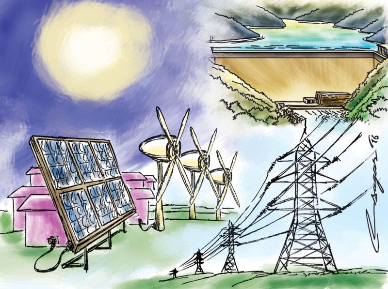 Solar, Hydro and Wind Power. Illustration: Ratna Sagar Shrestha/THT