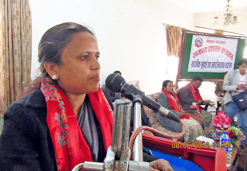 Minister for General Administration Rekha Sharma speaking at a program in Itahari, Sunsari on Sunday, February 7, 2016. Photo: RSS