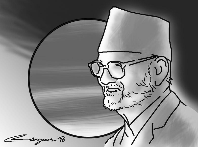 Late Nepali Congress President Sushil Koirala. Illustration: Ratna Sagar Shrestha/THT