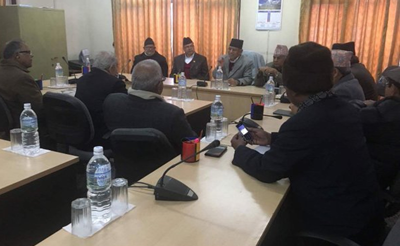 Top leaders of major parties and the protesting United Democratic Madhesi Front hold a meeting in Kathmandu, on Monday, February 1, 2016. Photo: https://twitter.com/cmprachanda