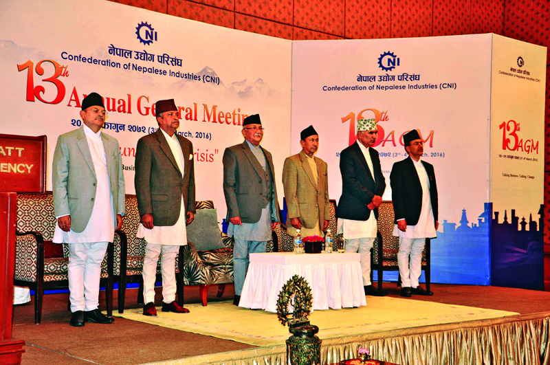 PM KP Sharma Oli, President Emeritus of CNI Binod Chaudhary (second from left) and Outgoing President of CNI Narendra Kumar Basnyat (third from right) at the inaugural session of CNIu0092s 13th AGM, in Kathmandu.  Photo: THT