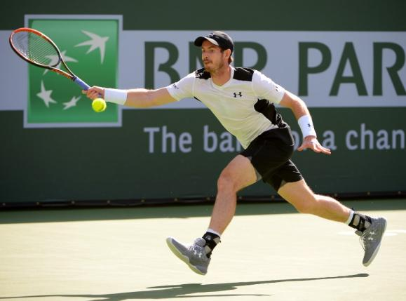 Mar 14, 2016; Indian Wells, CA, USA; Andy Murray (GBR) during his match against Federico Delbonis (ARG) at the BNP Paribas Open at the Indian Wells Tennis Garden. Delbonis won 6-4, 4-6, 7-6. Mandatory Credit: Jayne Kamin-Oncea-USA TODAY Sports