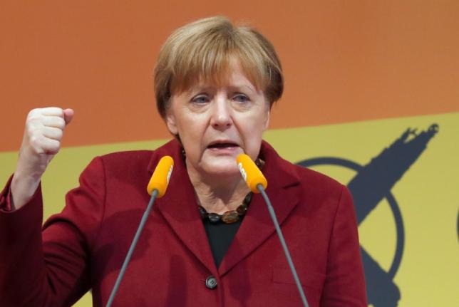 Angela Merkel, German Chancellor and leader of the conservative Christian Democratic Union (CDU) party addresses a Baden-Wuerttemberg state election campaign rally in Haigerloch, south-western Germany March 12, 2016, ahead of Sunday's regional elections in three states where the refugee crisis is expected to dominate voters' decisions.  REUTERS/Kai Pfaffenbach