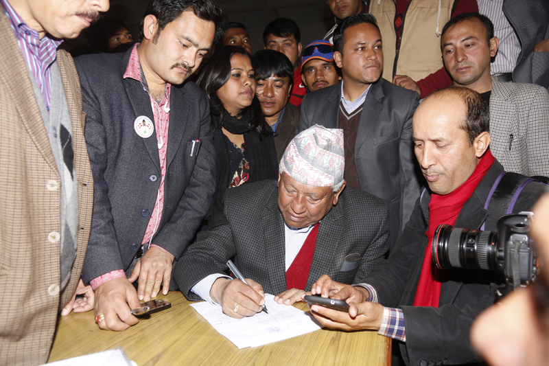 Nepali Congress general secretary candidate Arjun Narsingh KC files his nomination during the 13th national general convention of the party, in Kathmandu, on Friday, March 4, 2016. Photo: RSS