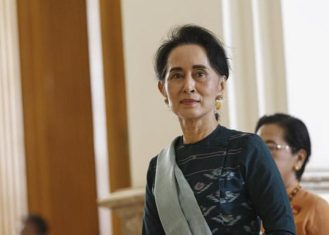 National League for Democracy (NLD) party leader Aung San Suu Kyi arrives at the Union Parliament in Naypyitaw, Myanmar on March 15, 2016. Photo: Reuters