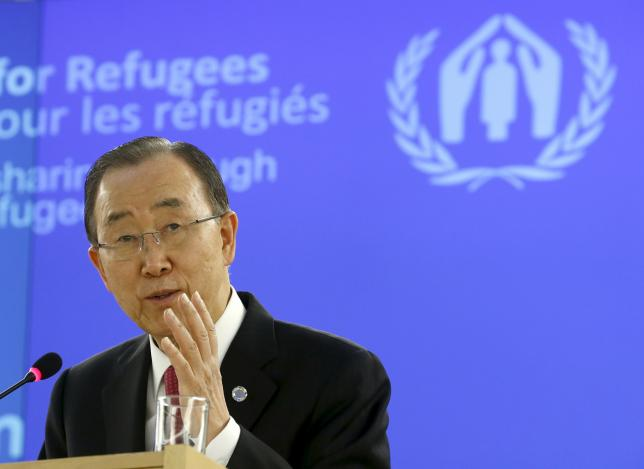 United Nations Secretary-General Ban Ki-moon addresses the meeting on global responsibility sharing through pathways for admission of Syrian refugees, at the United Nations in Geneva, Switzerland, March 30, 2016.  REUTERS/Denis Balibouse