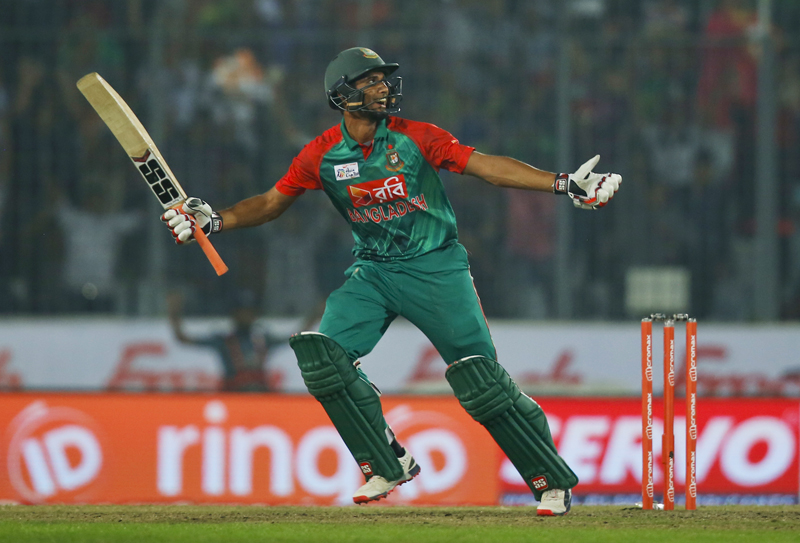 Bangladeshu0092s Mahmudullah celebrates after winning the Asia Cup Twenty20 international cricket match against Pakistan in  Dhaka, Bangladesh, Wednesday, March 2, 2016. Photo: AP