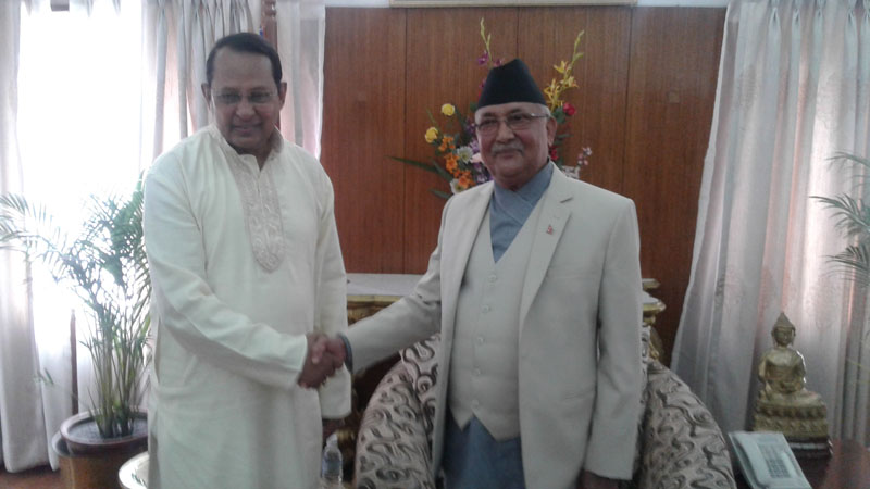 Visiting Bangladeshi Information Minister Hasanul Haq Inu calls on Prime Minister KP Sharma Oli, on Thursday, March 3, 2016. The Minister is in the Capital to attend the inauguration of the Nepali Congress 13th national general convention. Photo: PM's Secretariat