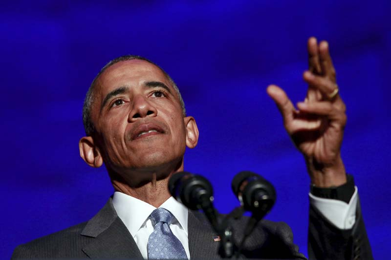 US President Barack Obama delivers the keynote address at the awards dinner for Syracuse University's Toner Prize for Excellence in Political Reporting at the Andrew W. Mellon Auditorium in Washington on March 28, 2016. Photo: Reuters