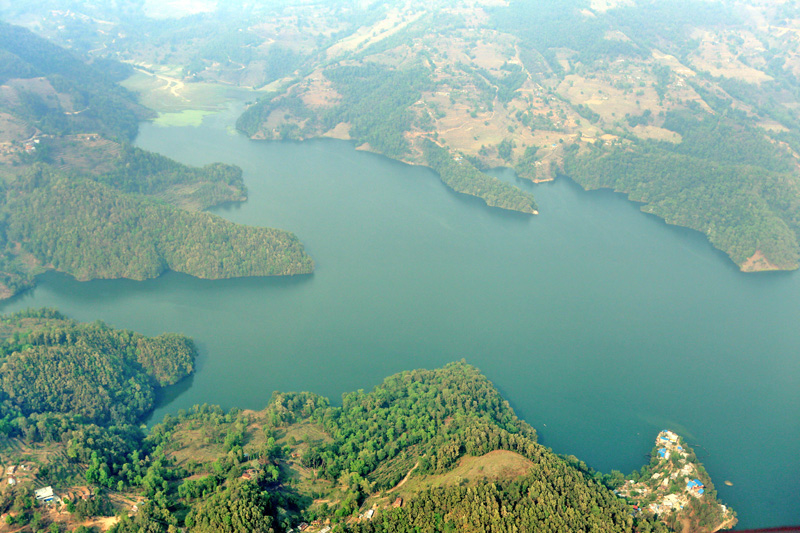 An aerial view of Begnas Lake near Pokhara of Kaski district, on Friday, March 25, 2016. Photo: RSS