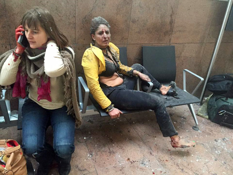 Two women wounded in Brussels Airport in Brussels, Belgium, after explosions were heard on Tuesday, March 22, 2016. Photo: Ketevan Kardava/ Georgian Public Broadcaster via AP