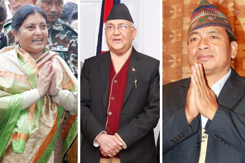 President Bidya Devi Bhandari (left), Prime Minister KP Sharma Oli and Vice President Nanda Bahadur Pun. Photos: RSS