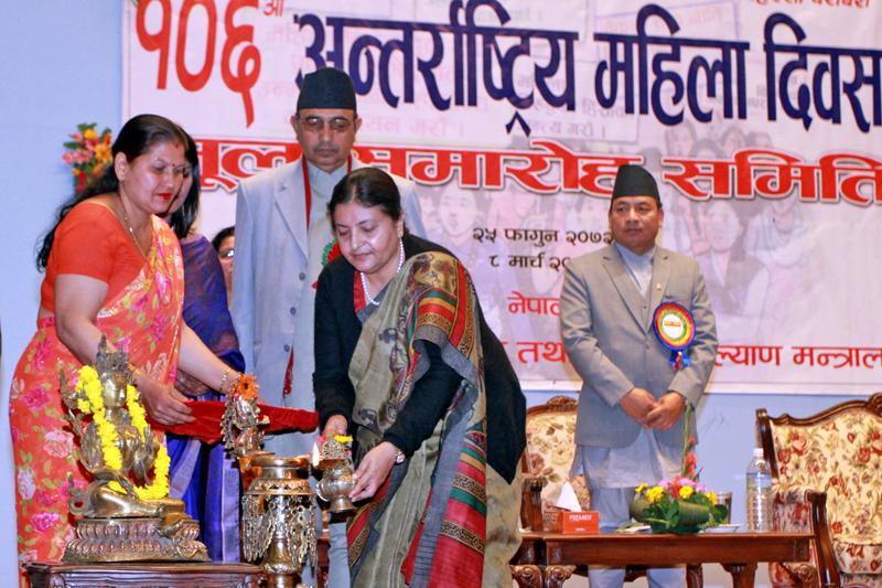 President Bidya Devi Bhandari lights Panas lamp to inaugurate the 106th International Women's Day in Kathmandu, on Tuesday, March 8, 2016. Photo: RSS