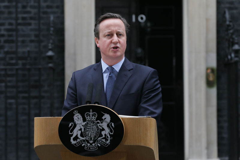 British Prime Minister David Cameron makes a statement outside 10 Downing Street in London, on Saturday, February 20, 2016. Photo: AP