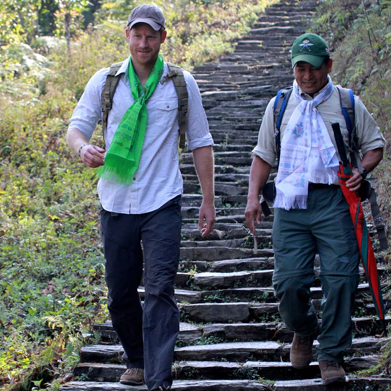 British Prince Harry embarks on a half-an-hour journey to Okhare by foot from Deurali