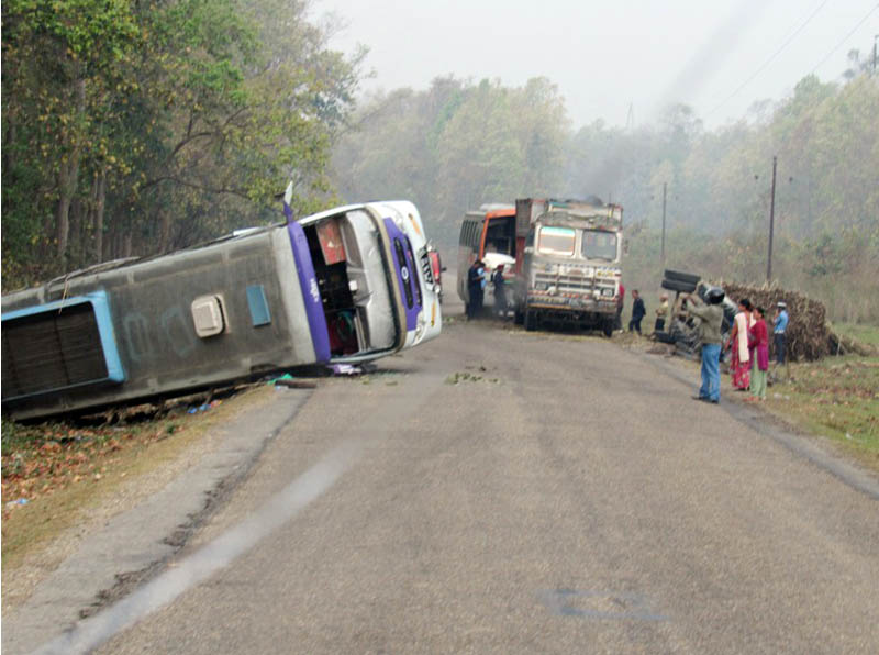 A bus is hit by a tractor in Bardibas-11 of Mahottari district along the East West Highway on Monday, March 28, 2016. Photo: RSS