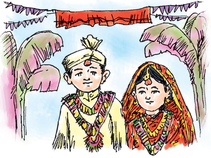 Child marriage. Illustration: Ratna Sagar Shrestha/ THT
