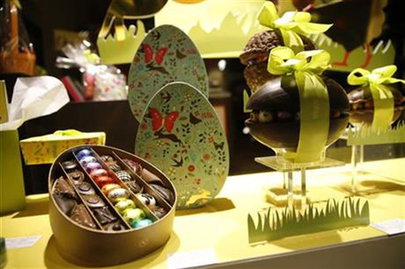 This Saturday, March 26, 2016 photo shows chocolate Easter Eggs on display in a shop near the EU Commission in Brussels. Photo:AP