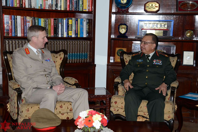 British Army Major General Richard Standford meets Chief of Army Staff Rajendra Chhetri at the Nepali Army headquarters in the Capital on Tuesday, March 15, 2016. Photo: Nepal Army