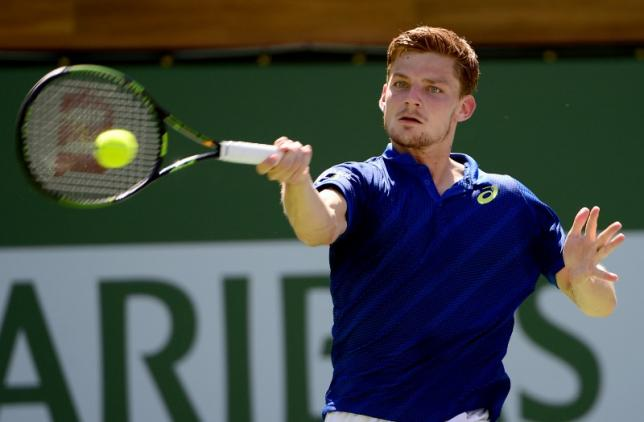 Mar 17, 2016; Indian Wells, CA, USA; David Goffin (BEL) during his quarter final match against Marin Cilic (CRO) in the BNP Paribas Open at the Indian Wells Tennis Garden. Goffin won 7-6, 6-2. Mandatory Credit: Jayne Kamin-Oncea-USA TODAY Sports