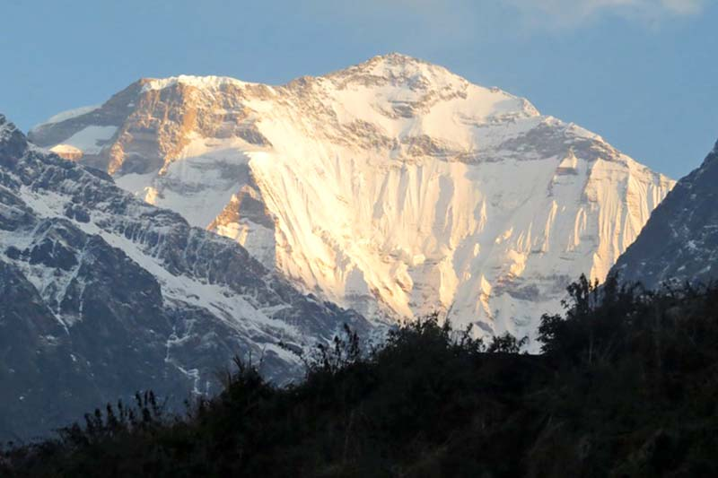 A scenic view of the Dhaulagiri Mountain seen from the foothills of Kuinemangale VDC of Myagdi district, on Sunday, March 27, 2016. Photo: RSS