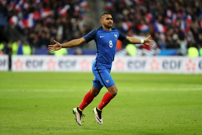 French team player Dimitri Payet celebrates his goal against Russia in an International Friendly at the Stade de France stadium, Saint-Denis, France on March 29, 2016. Photo: Reuters